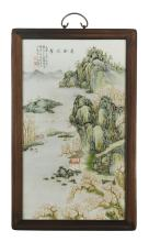Lot 1102: CHINESE SHOUSHAN-STYLE TILE PAINTING Rectangular, with river and mountain landscape design. Marked with calligraphy and two seal mar...