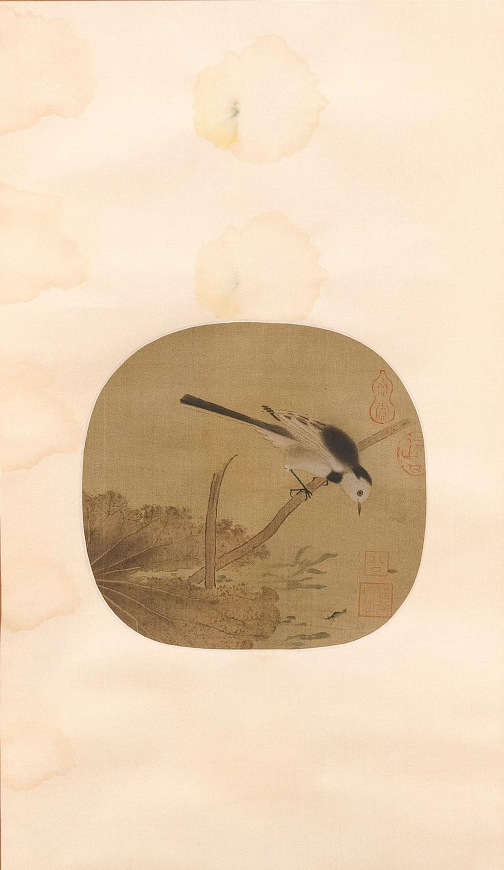 """Lot 1109: CHINESE SCROLL-MOUNTED FAN PAINTING ON SILK Depicting a magpie and lotus leaves. Marked with four seal marks. Length 9.2""""."""