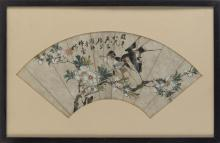 Lot 1110: CHINESE FAN PAINTING ON PAPER Depicting two swallows and a flowering plum branch. Marked with calligraphy and seal mark. Length 19.5...