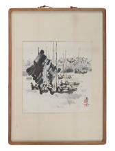 "Lot 1113: CHINESE WATERCOLOR Depicting sailboats in a harbor. Signed and seal marked lower right. Calligraphy verso. 13"" x 12.5"". Framed 25"" x..."