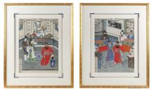 Lot 1114: PAIR OF CHINESE GENRE PAINTINGS SILK Depicting interior scenes, one of a man drawing a sword and the other of an official being arre...