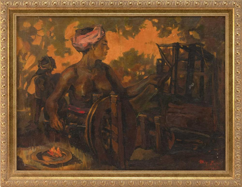 "Lot 1120: OIL PAINTING ON CANVAS BY LEE MAN FONT Depicting a Balinese woman at a spinning wheel. Signed lower right ""M.F. Lee Bali"". Date ille..."