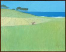 Lot 1121: OIL PAINTING ON CANVAS BY NASJAH DJAMIN Depicting a Balinese coastal scene with three figures crossing a field in the foreground and...