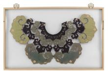 Lot 1132: CHINESE SILK EMBROIDERED COLLAR Composed of four rows of lappets in purple, green and ivory with colorful butterfly and floral decor...