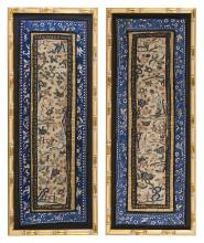 Lot 1157: PAIR OF CHINESE SILK NEEDLEWORK SLEEVE BANDS With figures in a landscape, abundant forbidden stitchwork details and a blue embroider...