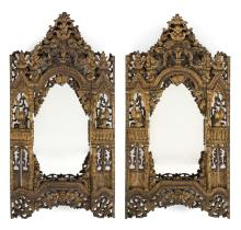 """Lot 1159: PAIR OF CHINESE RED LACQUERED AND GILT CARVED WALL MIRRORS Heights 28"""". Widths 14"""". Depths 4.5""""."""