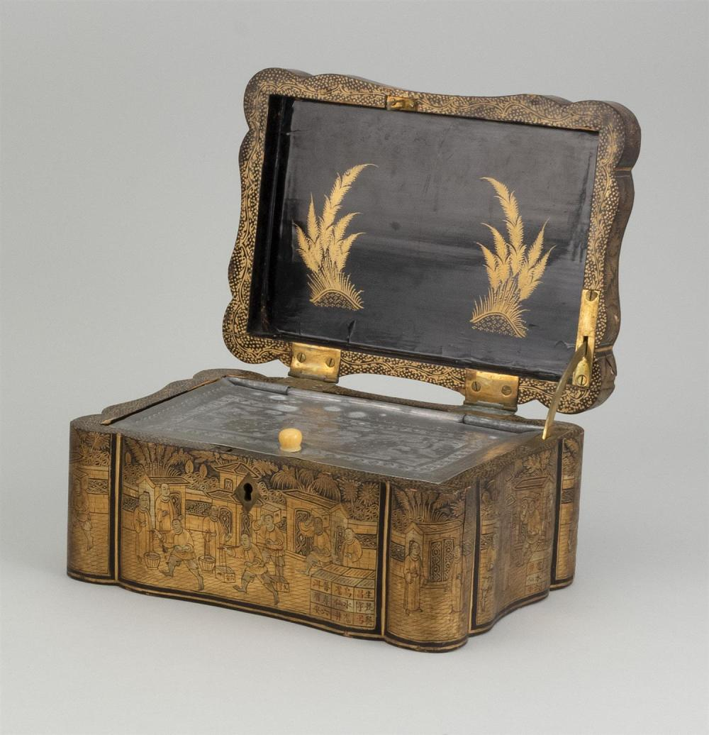 "Lot 1162: CHINOISERIE LACQUER TEA CADDY Rectangular, with black and gold figural landscape. Interior with pewter liner. Height 4.25"". Width 8...."