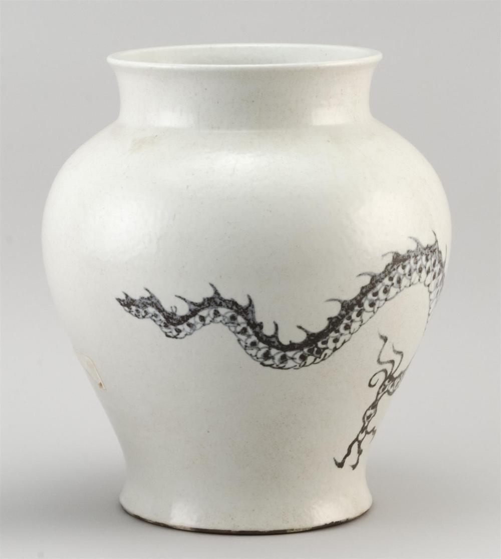 "Lot 1177: KOREAN PORCELAIN VASE In inverted pear form, with gray-blue dragon design. Height 10.25""."