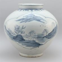 """Lot 1189: KOREAN BLUE AND WHITE PORCELAIN JAR In ovoid form, with landscape cartouche designs. Height 18""""."""