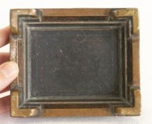 """Lot 929: CHINESE BRONZE CENSER Rectangular, with applied handles and conforming base. Two-character mark beneath censer. Length 5.25""""."""