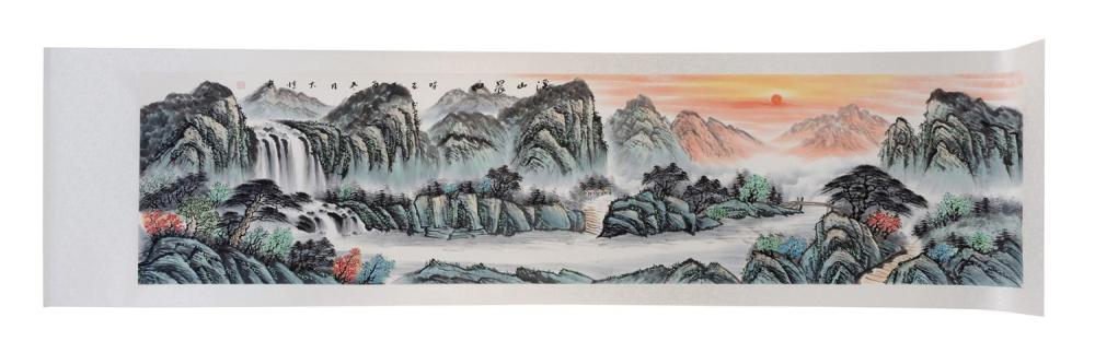 "Lot 1112: SCROLL PAINTING ON PAPER Depicting a sunset mountain and river landscape. 23"" x 94""."