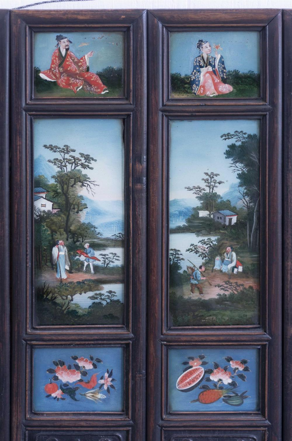 Lot 1098: CHINESE EIGHT-PANEL REVERSE-PAINTED GLASS SCREEN The top panels depict the eight Immortals, the middle panels depict figures in land...