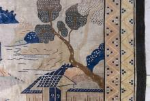 "Lot 1125: ORIENTAL RUG: CHINESE ART DECO 9'0"" x 11'6"" Depicting a stylized landscape with scholar's house."