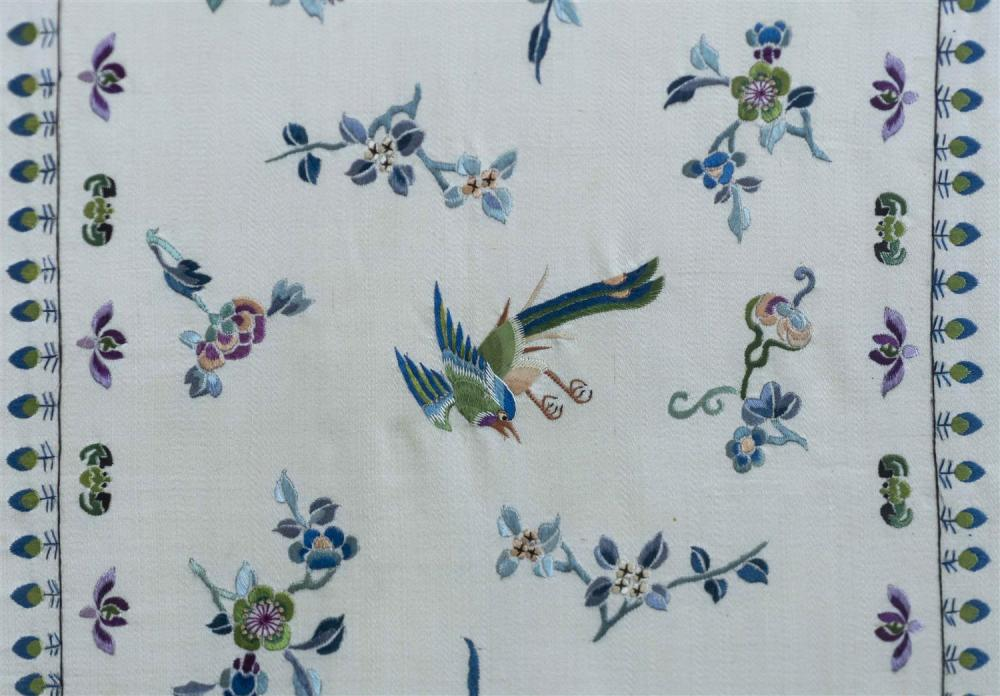 "Lot 1150: PAIR OF SILK NEEDLEWORK PANELS With bird, butterfly and flower designs on a white ground. Framed 37.5"" x 12.5""."