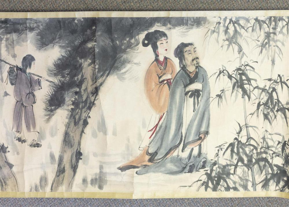 Lot 1116: CHINESE SCROLL PAINTING ON PAPER In the manner of Fu Baoshi. Depicting numerous figures amongst bamboo and prunus. Marked with seal...