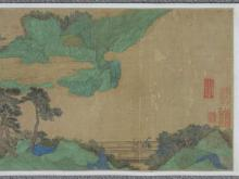 Lot 1083: CHINESE HAND SCROLL ON SILK Depicting a green figural landscape featuring pavilions. Marked with eleven seals and signature. Accompa...
