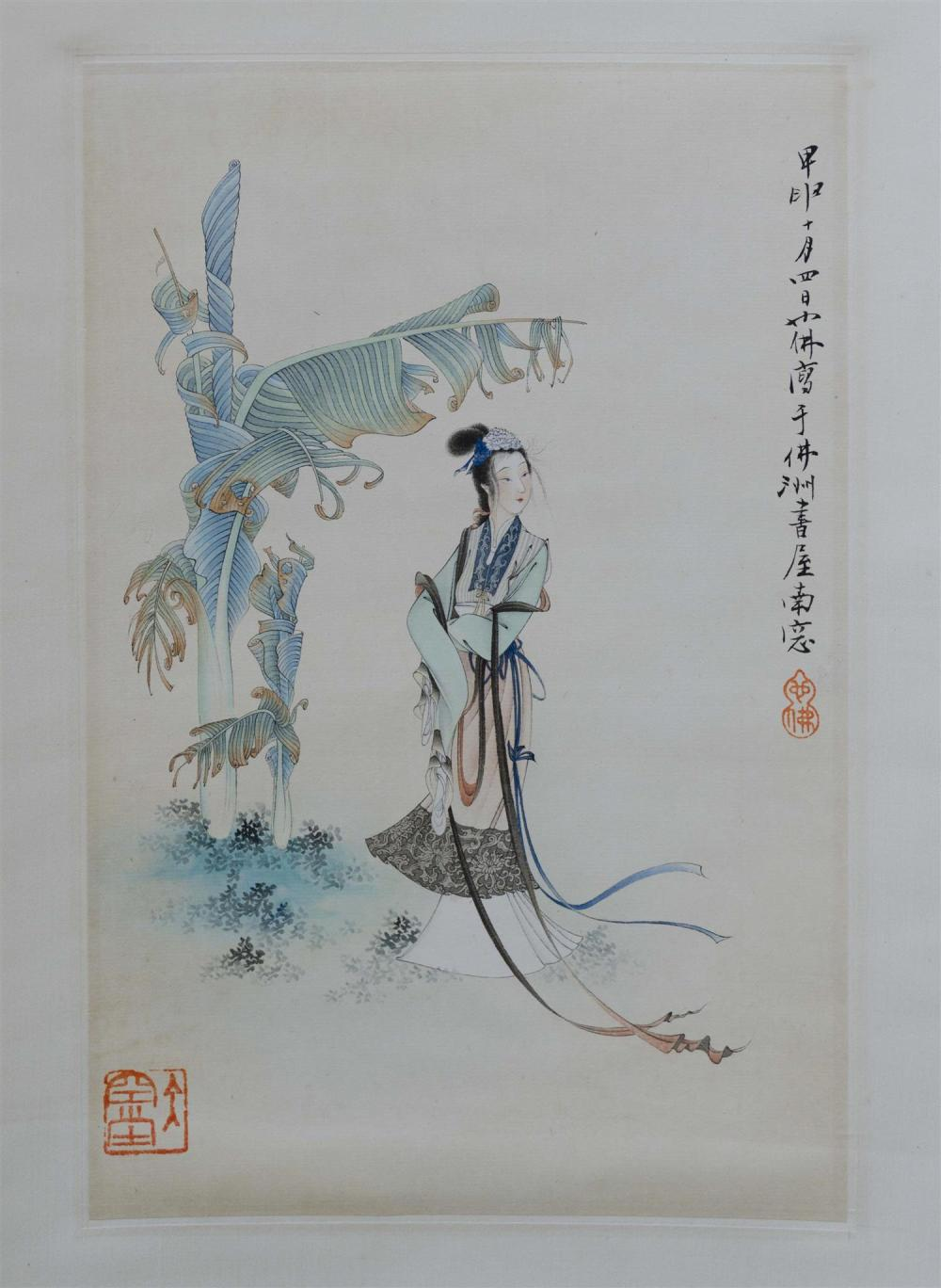 CHINESE SCROLL PAINTING ON PAPER Depicting a maiden and palm tree. Marked with two seals and calligraphy. 13