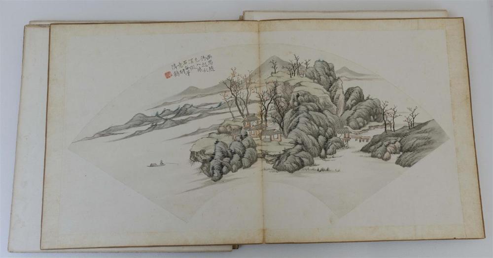 "Lot 1077: CHINESE PAINTING ALBUM By Hu Erhmei. Contains twelve fan-form landscapes. Lengths 20.6""."