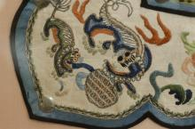"Lot 1155: CHINESE SILK NEEDLEWORK COLLAR With forbidden stitchwork in a ruyi design with phoenix, lion and dragon motifs. 21"" x 21"". Framed 35..."