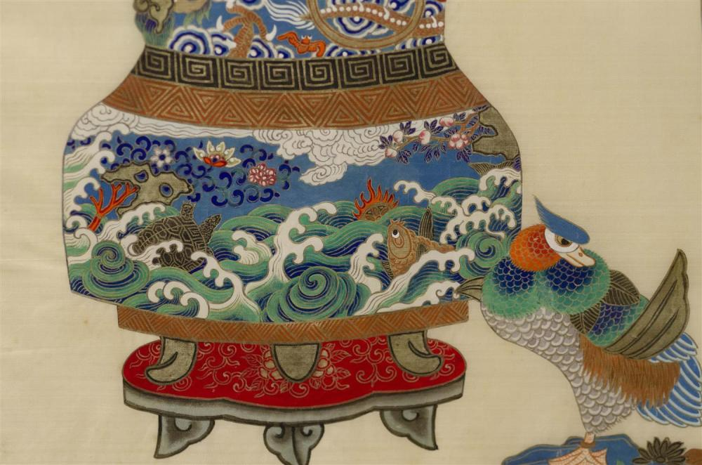 SET OF FOUR PAINTINGS ON SILK Depicting finely rendered vases of flowers. 31.5
