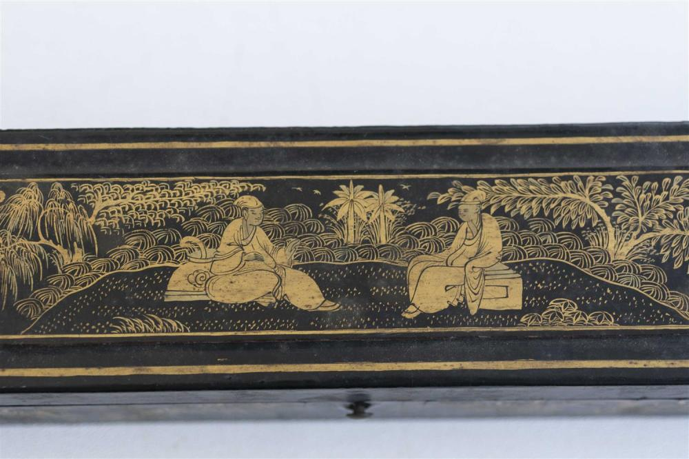 "Lot 1161: CASED CHINESE BLACK AND GOLD LACQUER FAN With fine figural landscape design. Length of fan 9.5"". Length of box 10.6""."