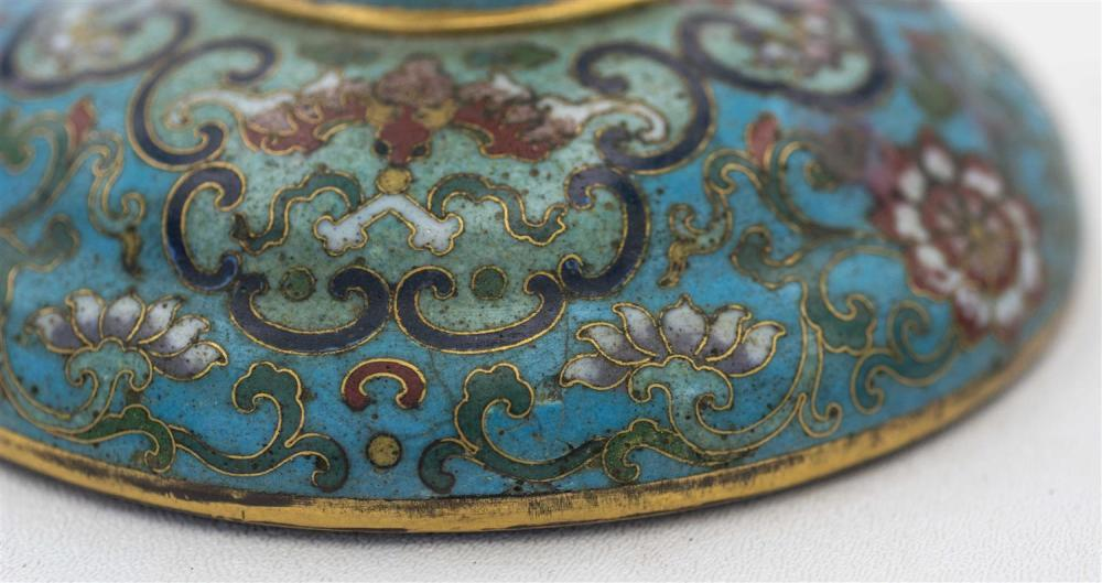 PAIR OF CHINESE CLOISONNÉ ENAMEL HAT STANDS In baluster form, with bulb tops, circular feet, and bat and flower decoration on a blue...