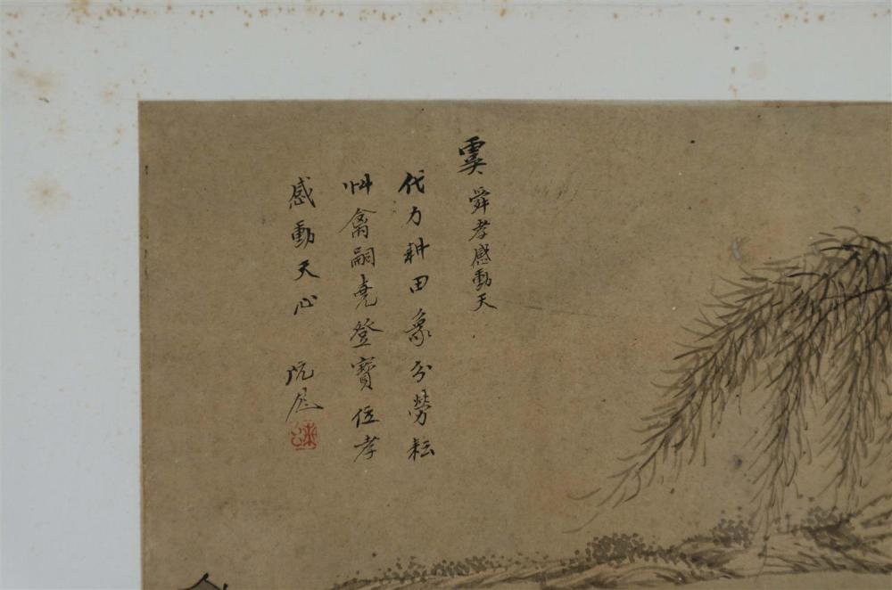 Lot 1076: SET OF FOUR CHINESE ALBUM PAINTINGS ON PAPER Depicting historical personages including Tseng Shen seated and observing a farmer, Kia...
