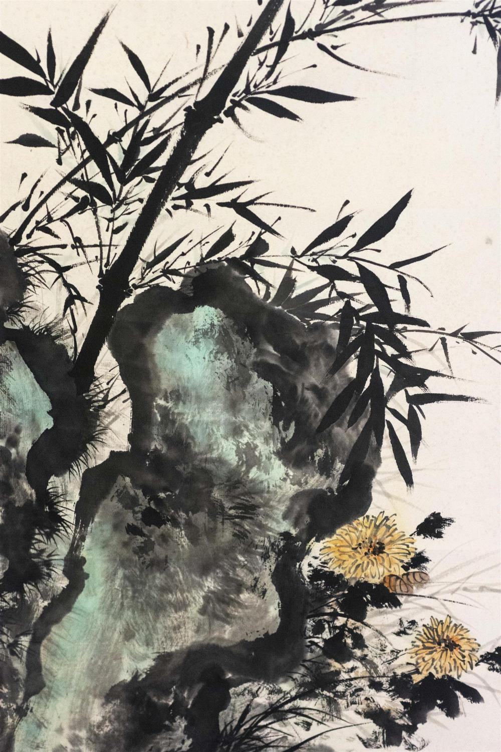 Lot 1053: CHINESE SCROLL PAINTING ON PAPER By Li Xiongcai. Depicting bamboo, rockery and chrysanthemums. Marked with calligraphy and seal mark...
