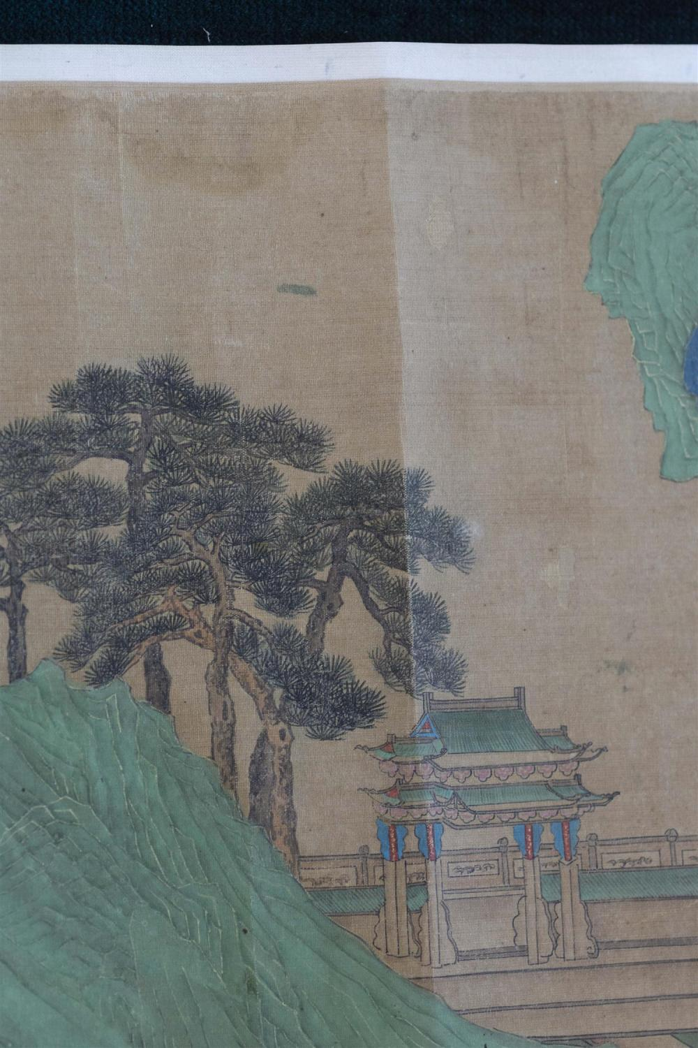CHINESE HAND SCROLL ON SILK Depicting a green figural landscape featuring pavilions. Marked with eleven seals and signature. Accompa...