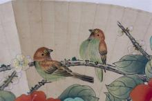 "Lot 1111: CHINESE MOUNTED FAN PAINTING By Yan Bolong. Depicting birds and flower blossoms. Length 22""."