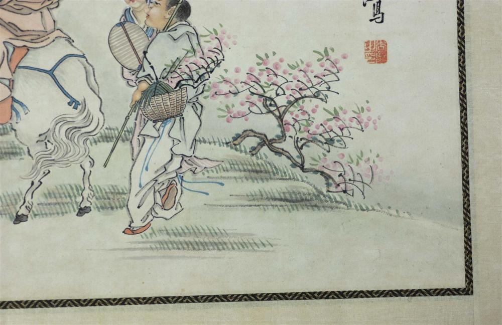 Lot 1080: PAIR OF CHINESE ALBUM PAINTINGS ON PAPER One depicting Guandi conversing with a woman who is accompanied by demons and the other dep...