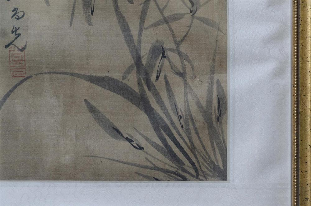 "Lot 1087: PAIR OF CHINESE ALBUM PAINTINGS ON SILK Depicting iris. Signed and seal marked. 9"" x 6.75"". Framed 16.25"" x 12""."