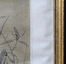 """Lot 1087: PAIR OF CHINESE ALBUM PAINTINGS ON SILK Depicting iris. Signed and seal marked. 9"""" x 6.75"""". Framed 16.25"""" x 12""""."""