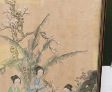 """Lot 1066: CHINESE PAINTING ON SILK Depicting three ladies examining a scroll. 33.25"""" x 20.5"""". Framed."""