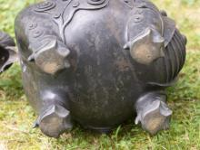 Lot 942: LARGE CHINESE BRONZE FIGURAL COVERED CENSER In the form of a guardian fu lion with a fierce expression. Separate head-form cover. Ta...