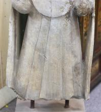 """Lot 1007: CHINESE SANDSTONE FIGURE Standing, wearing a jeweled necklace and flowing robes. Height 32""""."""