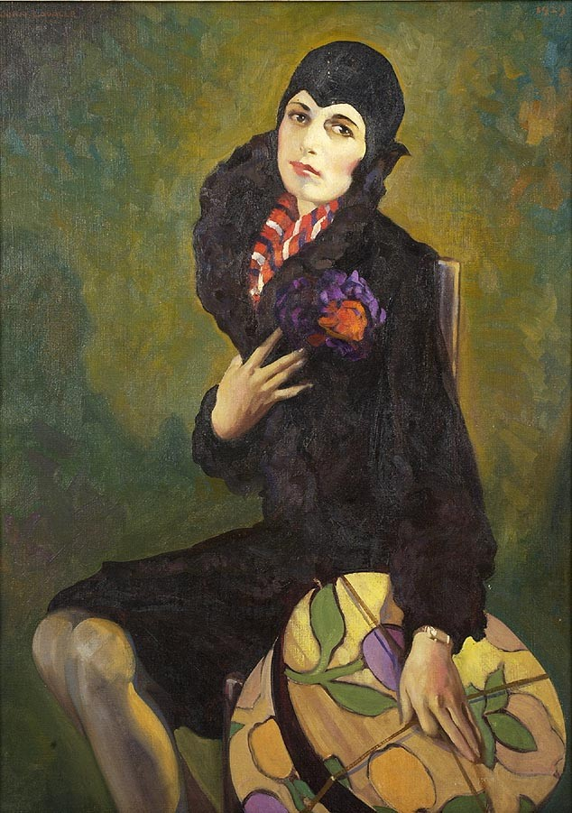 JOHN LAVALLE ,  American, 1896-1971  Portrait of a seated woman holding a hatbox.  Signed upper left. Dated upper right
