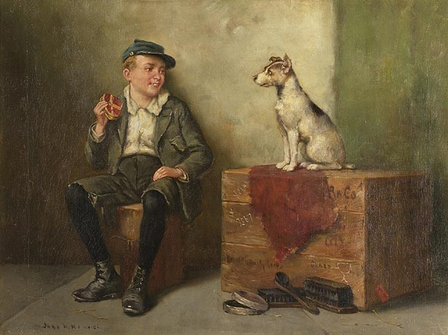 JOHN H. HENRICI ,  Italian-American, 1874-1958  A shoeshine boy  with a dog. Signed lower left.<e4> Oil on canvas, 18