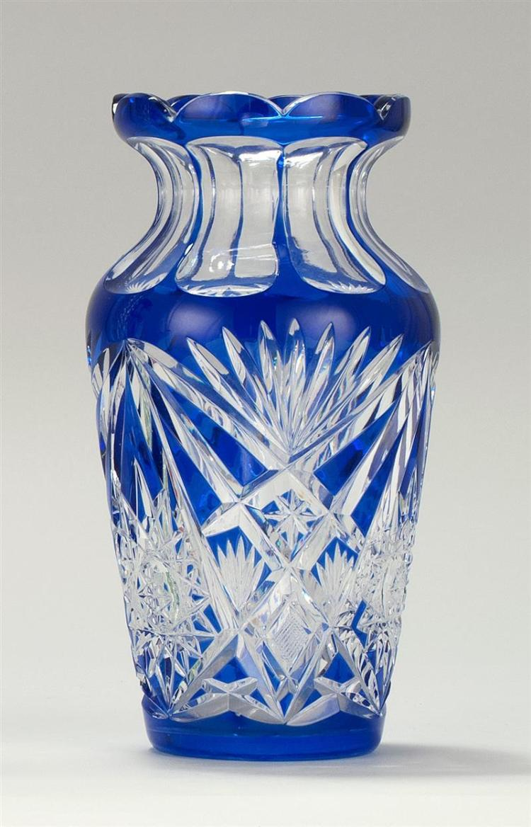 Blue Overlay Cut Glass Vase
