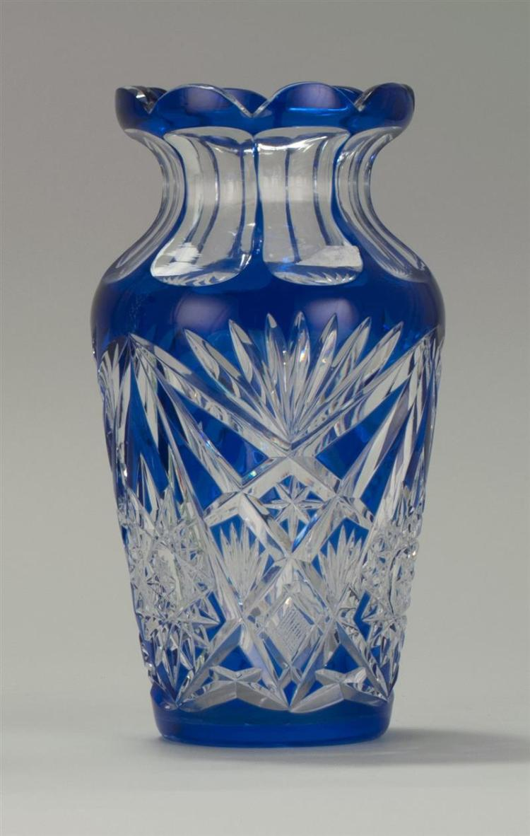 blue cut glass pin crystal vase for vintage czech tall bohemian cobalt