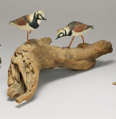 PAIR OF MINIATURE RUDDY TURNSTONE By James Lapham of Dennisport, MA. One with leg up and one in running form. Driftwood base.