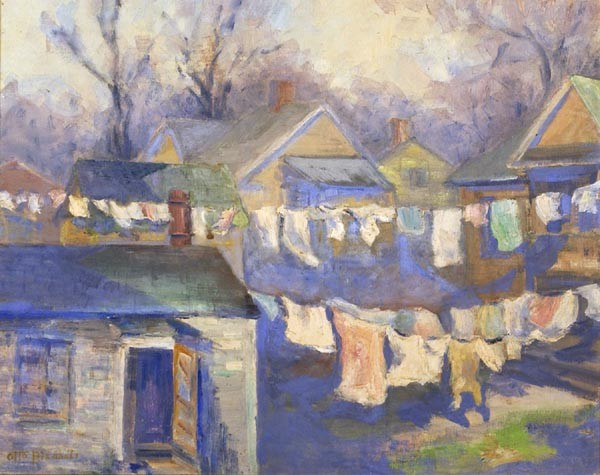 OTTO BIERHALS, American, 1879-1944, Wash day., Oil on canvas board, 16