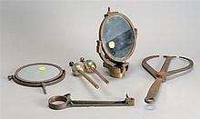 SIX ITEMS PERTAINING TO INSTRUMENTS: pair of calipers, salinometer, glycerin measuring device, and two mirrored sights including one...