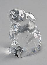 20TH CENTURY BACCARAT CRYSTAL RABBIT in seated position. Height 3¼