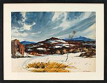 FRAMED WATERCOLOR: JOSEPH L.C. SANTORO (American, 1908-1996). Winter mountain landscape. Signed lower right J.L. Santoro. On paper,...