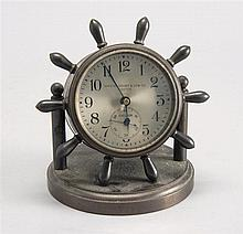 SMALL CHELSEA DESK CLOCK in ship's wheel form. Retailed by Shreve, Crump & Low. Overall height 4¾