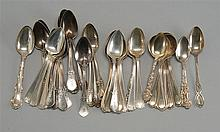 THIRTY-EIGHT STERLING SILVER SPOONS by various makers. Includes six cream soup spoons, thirty teaspoons, and three demitasse spoons....