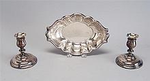 THREE PIECES OF STERLING SILVER HOLLOWWARE: an oval sterling silver dish by Reed & Barton in the