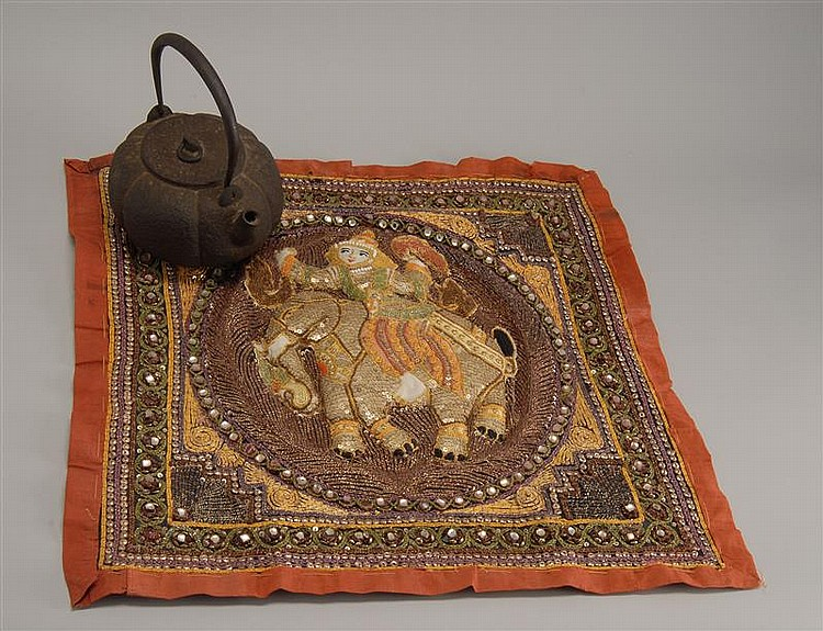 Tibetan or burmese textile and a japanese cast iron tetsubin - Elephant cast iron teapot ...
