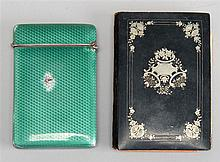 EARLY 20TH CENTURY CONTINENTAL SILVER AND ENAMEL CARD CASE. Together with a mid-19th Century papier-mâché datebook with silver inlay...